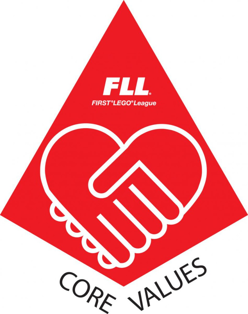 FLL Red Core Values triangle piece logo